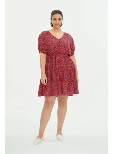 Luokk Josıah Balon Kollu V Yaka Mini Elbise Renkli